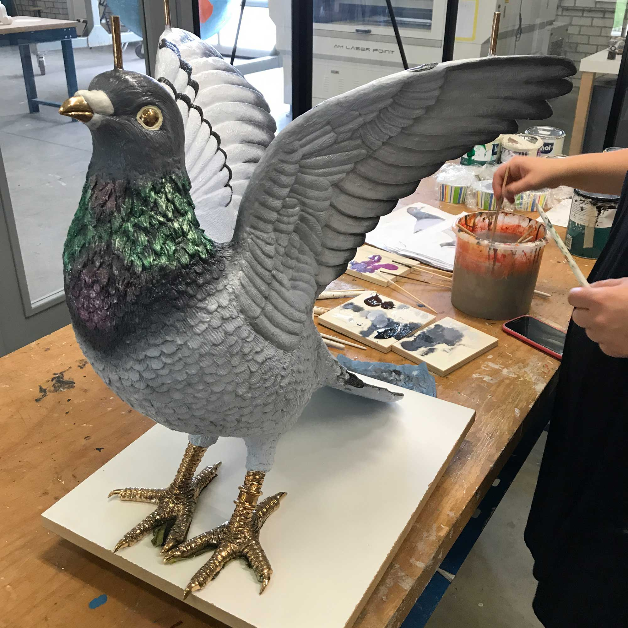 Studio-Job-Pigeon-Table-handpainting